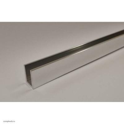 П-образный профиль 10x10х1 мм полированный хром L=2500 мм для стекла 6 мм