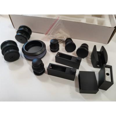 Комплект раздвижной системы для стеклянной душевой кабины на прямоугольном треке 30х10 черный KDC OF-WS Black