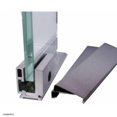 Профиль зажимной 40 мм с крышками AL+SSS (алюминий под матовую нерж. сталь)